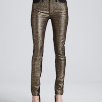 7 For All Mankind Malhia Kent The Skinny Jeans, Gold