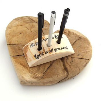 Wood Wedding Guest Book Pen Holder // All you need is love, Love is all you need