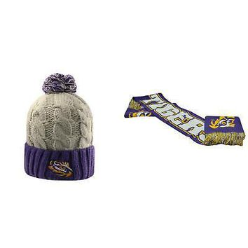 Licensed NCAA LSU Tigers Spirit Scarf And Gust Beanie Hat 2 Pack 94292 KO_19_1