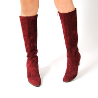 Sedona Boots . Vintage 1970s Boots . Suede Wood Heel Boots 7