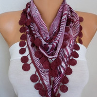 Burgundy Zebra Print Cotton Scarf,Summer Shawl,Cowl with Lace Edge,Bridesmaid Gift,Wedding Scarf,Women Scarves,Gift ideas For Her