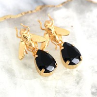 Fly Earrings, Black and Gold Earrings, Entomology Jewelry, Gift For Her, Black Crystal Earrings, Gold Fly Drop Crystal Earrings, Fly Jewelry