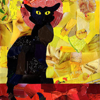 Bohemian home decor- Le chat noir poster - mixed media- Black cat art -French Giclee Print - Gift idea - wall decor