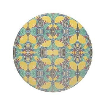 Art Deco Pattern Yellow Green Black Coaster