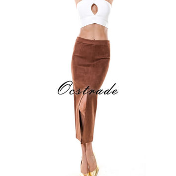 Free Shipping New Arrival Bodycon Skirts Women 2017 Summer Long Pencil Fashionable School Brown High Waisted Suede Midi Skirts