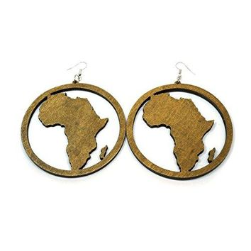 Wooden Africa Map Big Large Round Circle African Women Dangle Fashion Earrings
