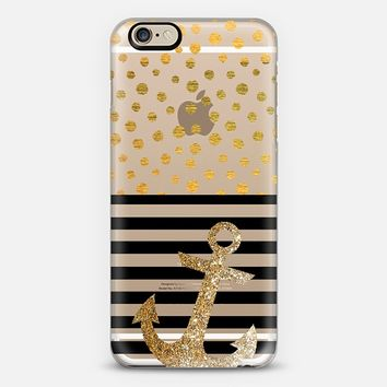 NAUTICAL DOTS GLITTER ANCHOR IN GOLD - PHONE CASE iPhone 6 case by Nika Martinez | Casetify