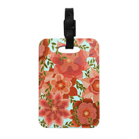 """Art Love Passion """"Flower Power"""" Red Floral Decorative Luggage Tag"""
