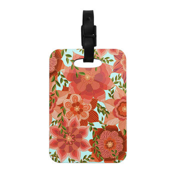 "Art Love Passion ""Flower Power"" Red Floral Decorative Luggage Tag"