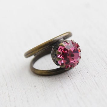 Vintage Pink Glass Stone Brass Ring- Retro 1960s 1970s Double Band Statement Costume Jewelry