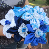 Fall flowers sale Fabric bouquet anniversay gift wedding bridal bouquet alternative fabric daisies blue fabric flowers   bouquet