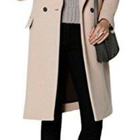 Women's Thick Double Breasted Worsted Lapel Long Overcoat Wool Blend Coat