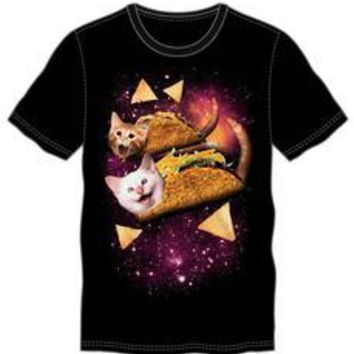 Happy Space Cat Taco Men's Black T-Shirt