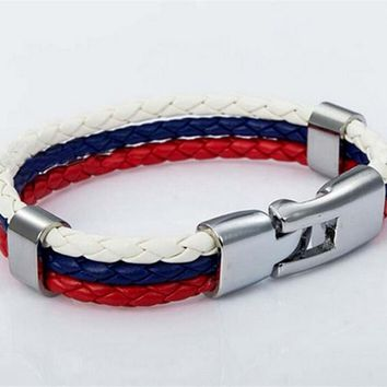 Unisex World Cup National Flags Sports 3 Strands Rope Braided Bracelet - Free Shipping