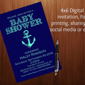 Nautical anchor navy blue and aqua baby shower invitation, anchor, navy blue and Aqua, printable 4x6 invitation, It's a boy