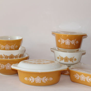 Vintage Pyrex Butterfly Gold Starter Set: Oval Casserole; Three Piece Covered Casserole Set; Refrigerator Dish; Three Piece Nesting Bowl