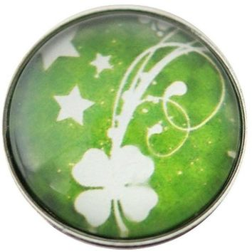 "Chunk Snap Charm Four Leaf Clover Irish Shamrock Bright Green 20mm 3/4"" Diameter"