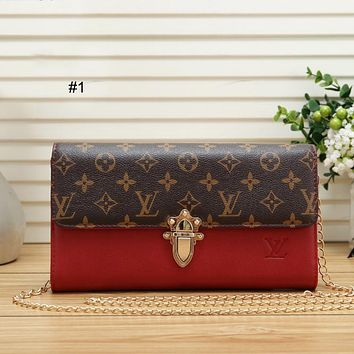 LV Louis Vuitton trend wild female color matching single shoulder diagonal chain bag poor female bag #1