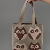Unusual handmade women's cotton fabric shoulder bag with applique work Owls