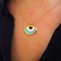 evil eye necklace, eyeball, evil eye,delicate necklace, simple necklace - Turkish evil eye necklace - third eye necklace - turkish jewelry