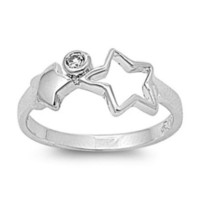 Sterling Silver Clear CZ Star Ring Size 1-5