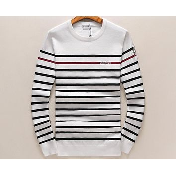 MONCLER autumn and winter round neck pullover striped long sleeve sweater F-A00FS-GJ White