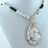 White Howlite Tear Drop Pendant with Malachite, Howlite & Sterling Necklace - Pendant Necklace -
