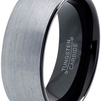 Black Domed Tungsten Wedding Band for Men Comfort Fit and Brushed Finish - 8mm