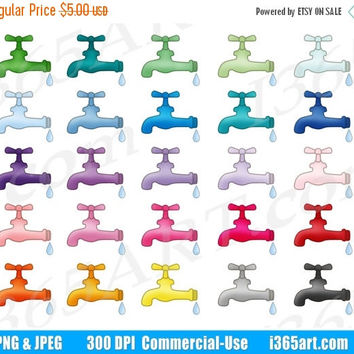 50% OFF SALE Water Faucet Clipart, Kitchen Sink Clip Art, Water Spout, Gardening, Dripping Water, Planner Sticker Graphics, PNG, Commercial