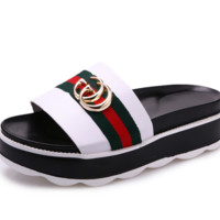 GUCCI New slippers female summer fight color fashion red and green stripe thick bottom slippers White