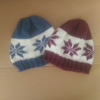 WOOL Winter Hat With Snowflake Design Women's Trendy Knitted Winter Hat