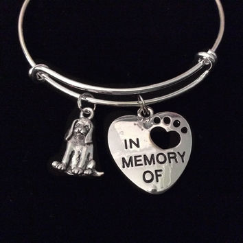In Memory of Pet Dog Expandable Charm Bracelet Adjustable Silver Bangle Memorial Gift