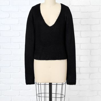 Black Fuzzy V-Neck Sweater