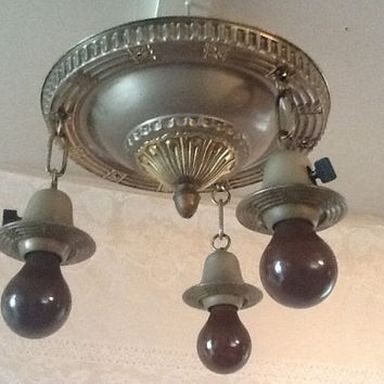Antique Vintage Art Deco Hanging Flush Mount Ceiling Fixture 1920s