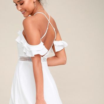 Sweet As Can Be White Lace Skater Dress