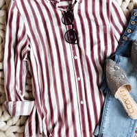 Saturday Button Down Top, Red/White
