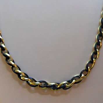 Chain Necklace, By Trifari, of Black and Gold Chain Interwoven....22 Inches Long.... Beautiful  Condition... FREE SHIPPING