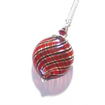 Murano Blown Glass Red Black Disc Pendant Necklace