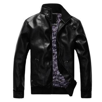 Autumn Stand Collar Slim Leather Coat Men