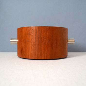 Vintage Paul Pedersen for Lundtofte Combiwood Staved Teak Ice Bucket with Stainless Steel Liner
