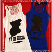 Same Sex Princess Half Lace Back Couples Tank Top Set Lesbian Couples Set Hers and Hers