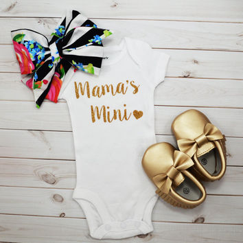 Baby Girl Coming Home outfit - Mama's Mini Bodysuit - Baby Head Wrap