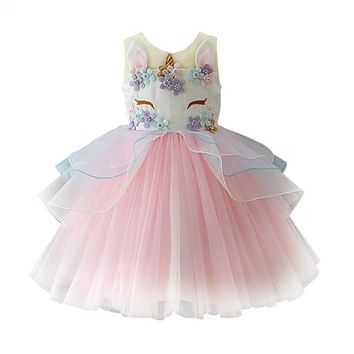 Top Quality Unicorn Party 2018 New Girl's Princess Dress Children Clothes Baby Party Tulle Dress Halloween Girls Costumes!