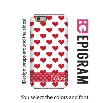 Valentine's Day iPhone case, red hearts iPhone case personalized, gift for her, iPhone 4/4s/5/5s/5c/6/6s and 6/6s Plus case, 3D wrap case