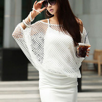 Cut-Out Sleeve Overlay Net Blouson Mini Dress