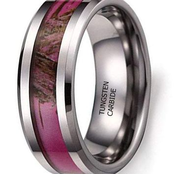 CERTIFIED 8MM Men's Hunting Camouflage Tungsten Wedding Band Pink Camo Ring