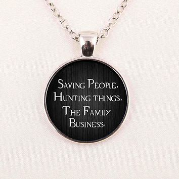 1pcs supernatural necklace Saving People Hunting things the family business Dean winchester sam glass Cabochon Necklace