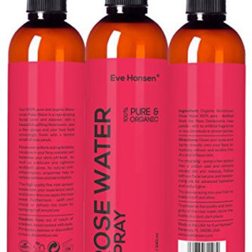 8oz Organic ROSE WATER SPRAY - 100% Pure & Natural Facial Toner with Uplifting Floral Scent - SEE RESULTS OR MONEY-BACK. Just a few sprays & your face feels amazingly fresh with tender smell of roses!