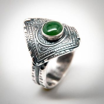 Jade Dynasty Coin Ring | Diamond Shaped Ring Size 5 3/4