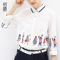 Toyouth 2016 Long Sleeve Shirts For Autumn Women Carto Print Turn-Down Collar Casual Blouses Tops
